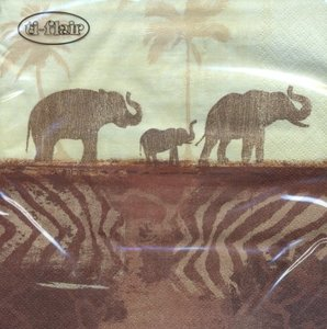 Elephants in Morning Mist Napkin Set 33 x 33 cm